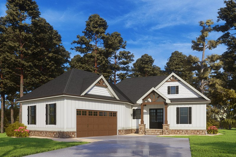 Craftsman Style House Plan - 4 Beds 4 Baths 2944 Sq/Ft Plan #437-114 Exterior - Front Elevation