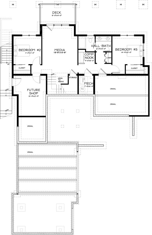 Contemporary Style House Plan - 3 Beds 2.5 Baths 2687 Sq/Ft Plan #895-8 Floor Plan - Lower Floor Plan