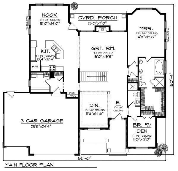 Craftsman Floor Plan - Main Floor Plan Plan #70-871