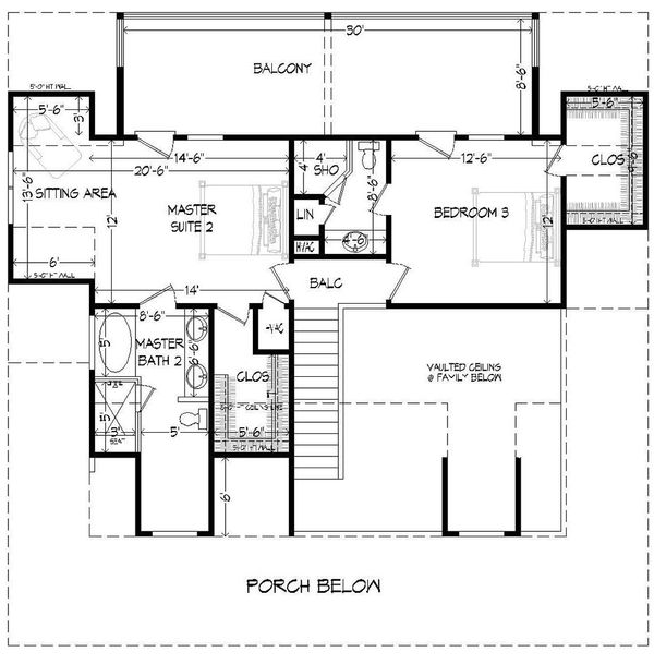 Country Floor Plan - Upper Floor Plan #932-13