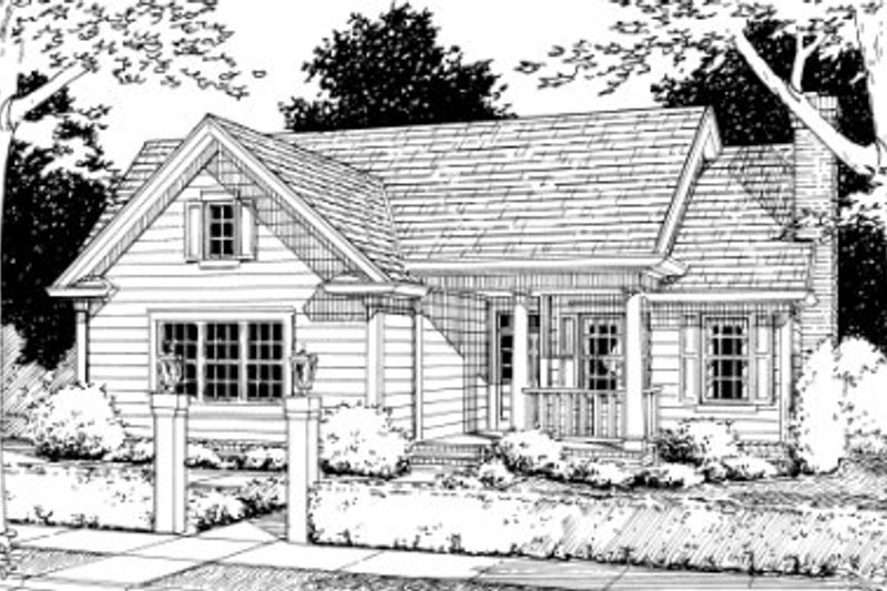 Farmhouse Style House Plan - 3 Beds 2 Baths 1333 Sq/Ft Plan #20-335 Exterior - Front Elevation