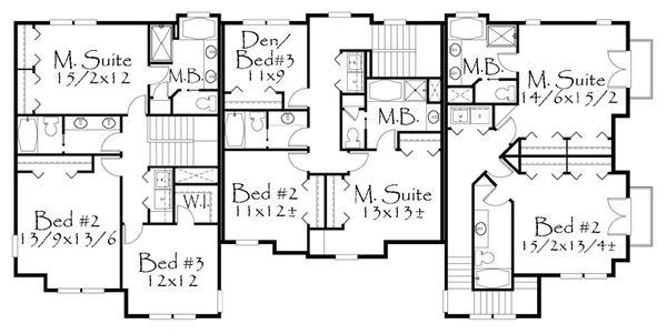 Craftsman Floor Plan - Upper Floor Plan Plan #509-20