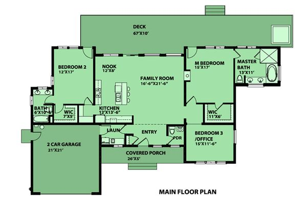 Contemporary Floor Plan - Main Floor Plan Plan #515-2