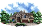 European Style House Plan - 4 Beds 2.5 Baths 4251 Sq/Ft Plan #27-448 Exterior - Front Elevation