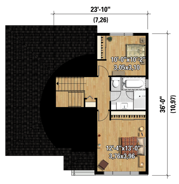 Contemporary Floor Plan - Upper Floor Plan Plan #25-4296