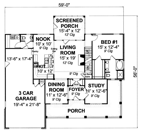 Country Floor Plan - Main Floor Plan Plan #513-2051
