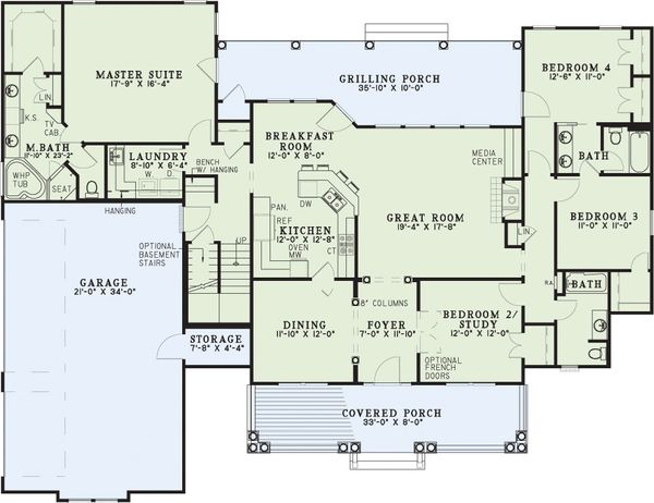 Dream House Plan - Country house plan with covered porch, floor plan
