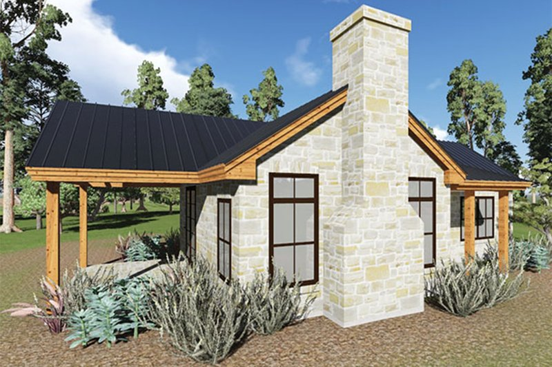 Cottage Style House Plan - 1 Beds 1 Baths 808 Sq/Ft Plan #935-9 Exterior - Front Elevation