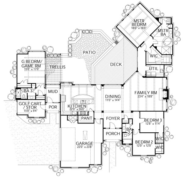 European Floor Plan - Main Floor Plan Plan #80-177
