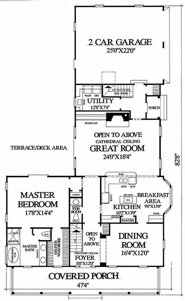 Southern Floor Plan - Main Floor Plan Plan #137-208