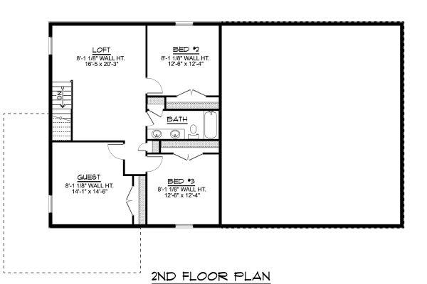 Modern Floor Plan - Upper Floor Plan Plan #1064-18