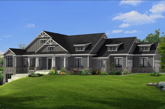 Craftsman Exterior - Front Elevation Plan #1057-26