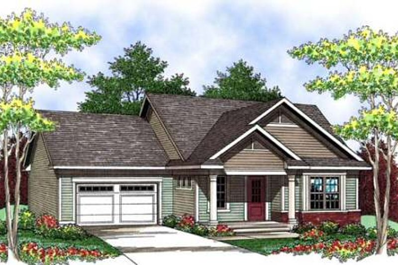Ranch Style House Plan - 2 Beds 2 Baths 1649 Sq/Ft Plan #70-906 Exterior - Front Elevation