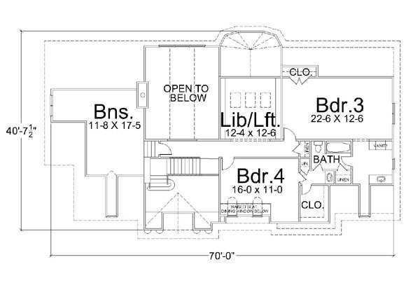 Colonial Floor Plan - Upper Floor Plan Plan #119-137