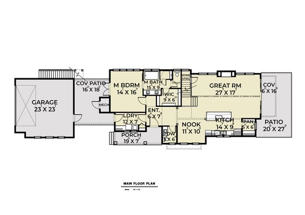 Contemporary Floor Plan - Main Floor Plan #1070-84