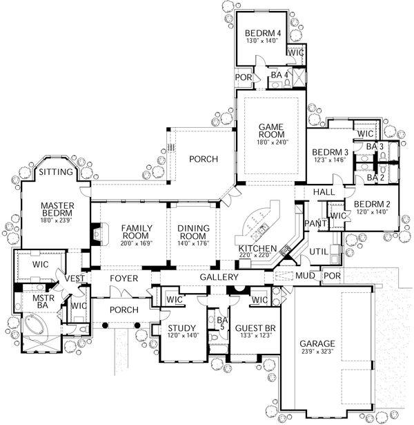 Mediterranean Floor Plan - Main Floor Plan Plan #80-213