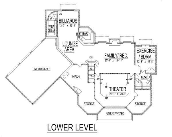 European Floor Plan - Lower Floor Plan #458-9