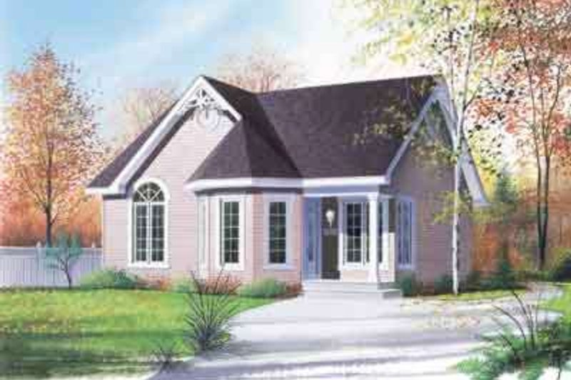 European Style House Plan - 2 Beds 1 Baths 958 Sq/Ft Plan #23-445 Exterior - Front Elevation