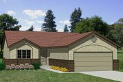 Ranch Style House Plan - 3 Beds 2 Baths 1086 Sq/Ft Plan #116-150 Exterior - Front Elevation