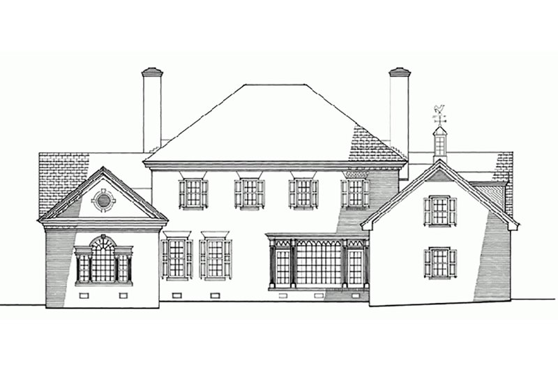 Colonial Exterior - Rear Elevation Plan #137-200 - Houseplans.com