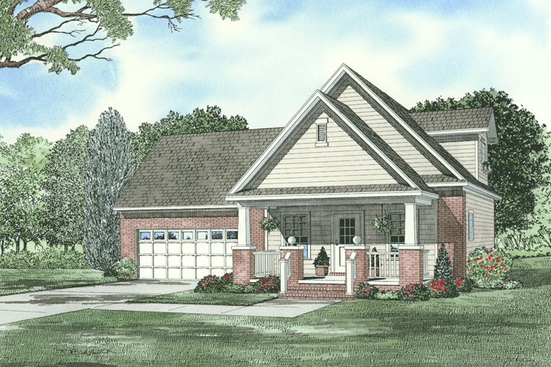 Farmhouse Style House Plan - 3 Beds 2 Baths 1059 Sq/Ft Plan #17-2294 Exterior - Front Elevation