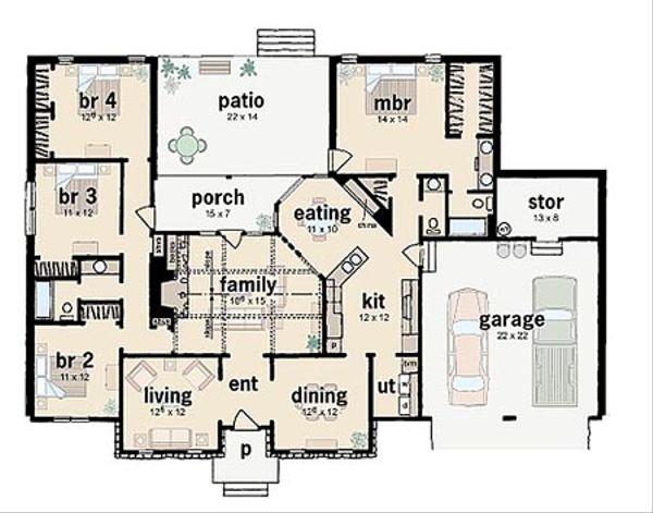 Ranch Floor Plan - Main Floor Plan Plan #36-167