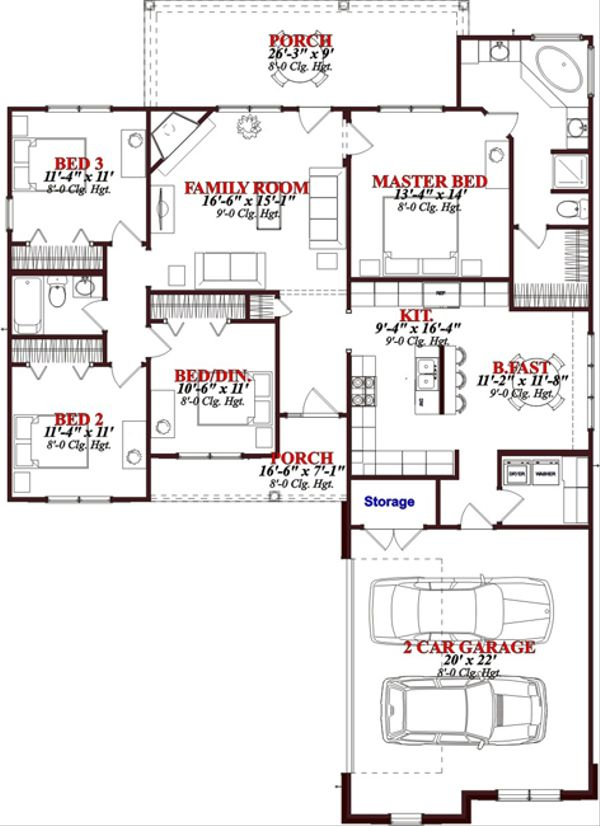 Traditional Floor Plan - Main Floor Plan Plan #63-263