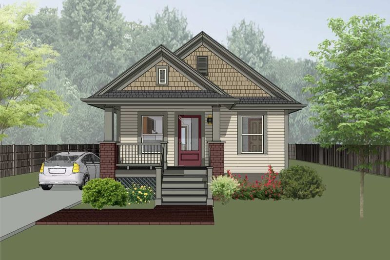 Architectural House Design - Craftsman Exterior - Front Elevation Plan #79-101