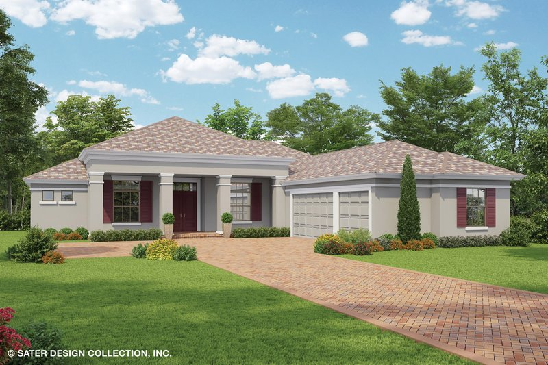 Mediterranean Style House Plan - 3 Beds 2.5 Baths 2564 Sq/Ft Plan #930-464 Exterior - Front Elevation