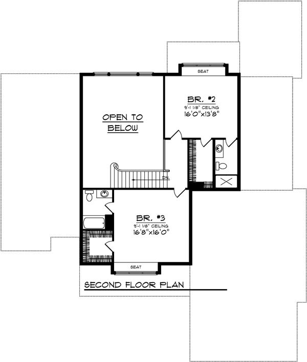 Traditional Floor Plan - Upper Floor Plan Plan #70-1037
