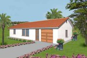 Mediterranean Style House Plan - 2 Beds 2 Baths 1000 Sq/Ft Plan #1-139 Exterior - Front Elevation