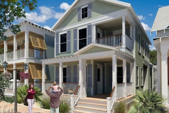 Beach Exterior - Front Elevation Plan #442-2