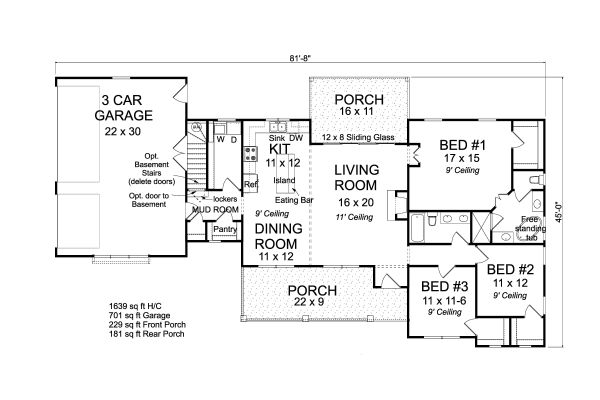House Plan Design - Ranch Floor Plan - Main Floor Plan #513-2188