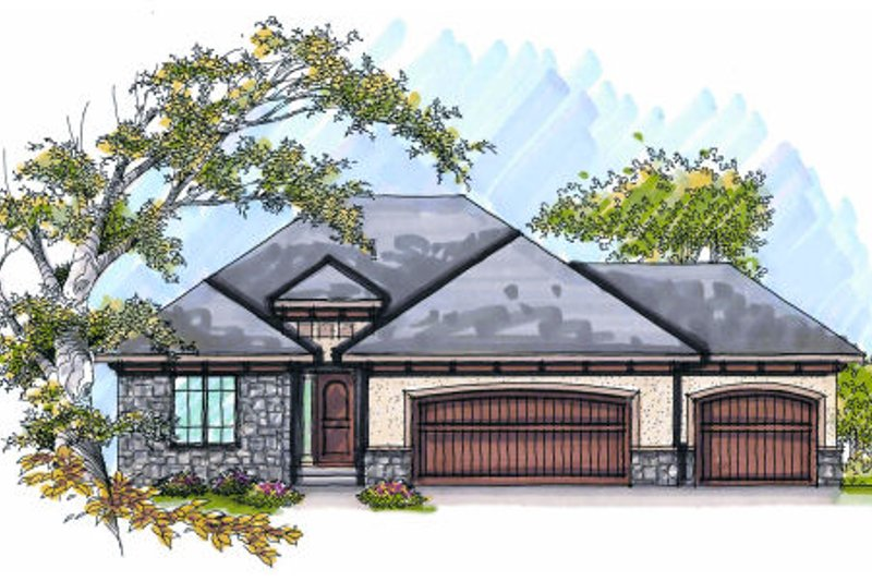 European Exterior - Front Elevation Plan #70-987