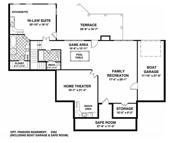 Southern Style House Plan - 3 Beds 3 Baths 2156 Sq/Ft Plan #56-589 Floor Plan - Lower Floor Plan