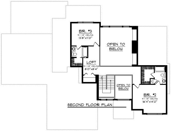 Modern Floor Plan - Upper Floor Plan Plan #70-1284