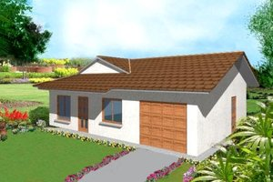 Ranch Exterior - Front Elevation Plan #1-137