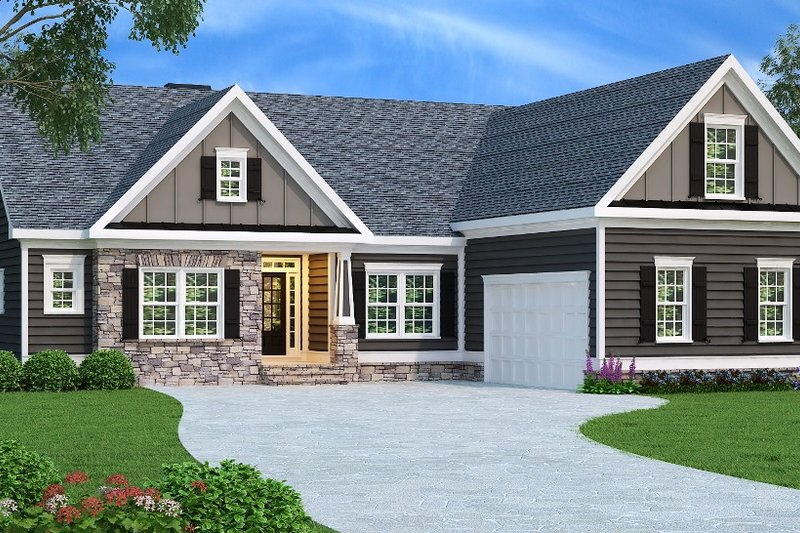Traditional Style House Plan - 3 Beds 2 Baths 1732 Sq/Ft Plan #419-145 Exterior - Front Elevation