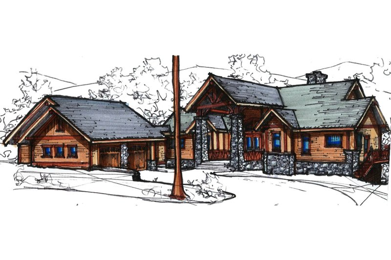 Craftsman Style House Plan - 4 Beds 3.5 Baths 4418 Sq/Ft Plan #921-15 Exterior - Front Elevation