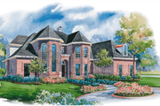 European Style House Plan - 4 Beds 5 Baths 4500 Sq/Ft Plan #20-1199 Exterior - Front Elevation