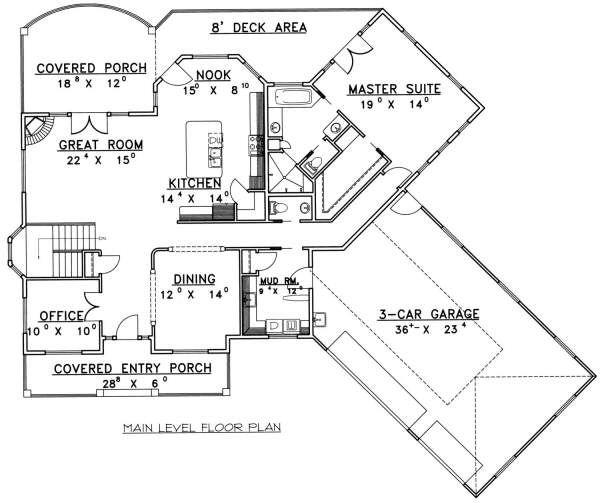 Bungalow Floor Plan - Main Floor Plan Plan #117-578