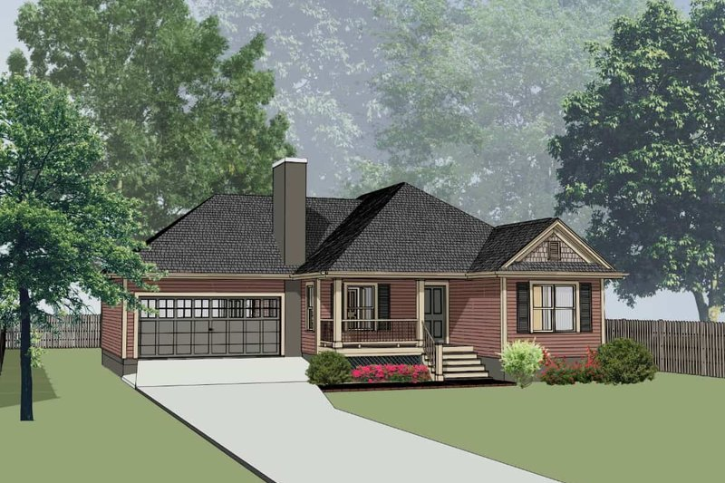Traditional Style House Plan - 3 Beds 2 Baths 1214 Sq/Ft Plan #79-165 Exterior - Front Elevation