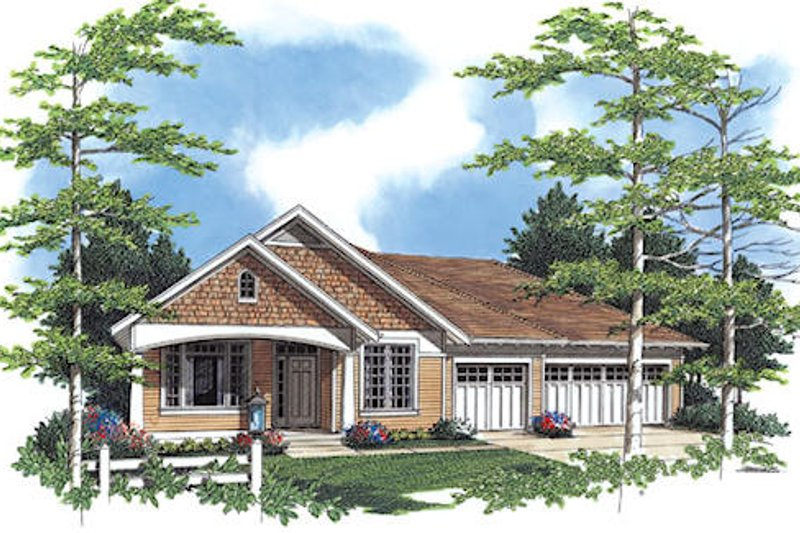 Craftsman Exterior - Front Elevation Plan #48-408