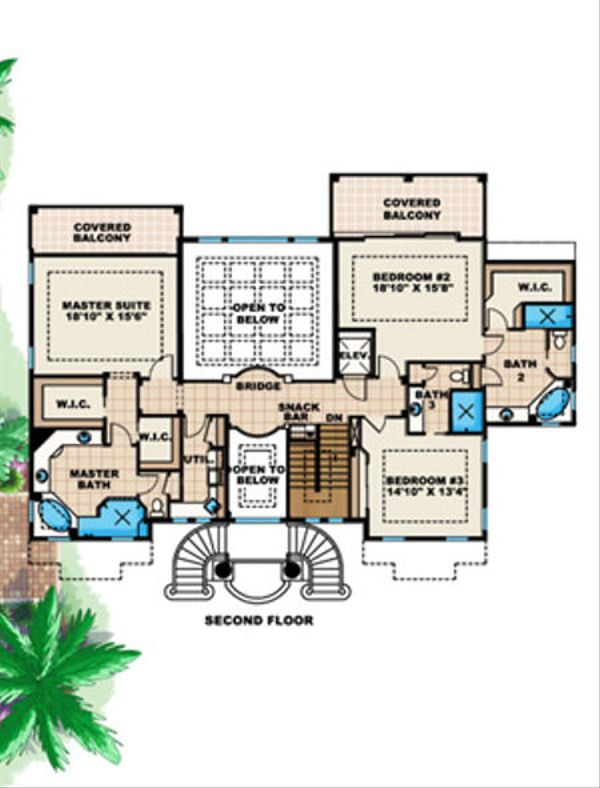 Mediterranean Floor Plan - Upper Floor Plan Plan #27-396