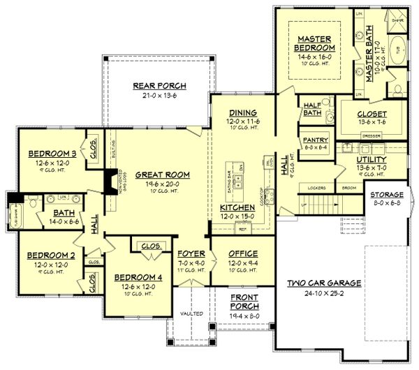 Home Plan - Craftsman Floor Plan - Main Floor Plan #430-155
