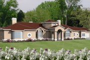 Mediterranean Style House Plan - 4 Beds 4 Baths 3668 Sq/Ft Plan #1-870 Exterior - Front Elevation