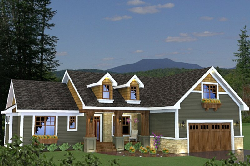 Craftsman Style House Plan - 3 Beds 2 Baths 1724 Sq/Ft Plan #51-521 Exterior - Front Elevation