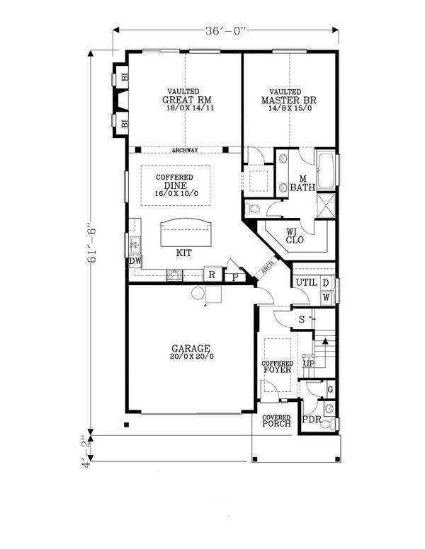 Home Plan - Craftsman Floor Plan - Main Floor Plan #53-538