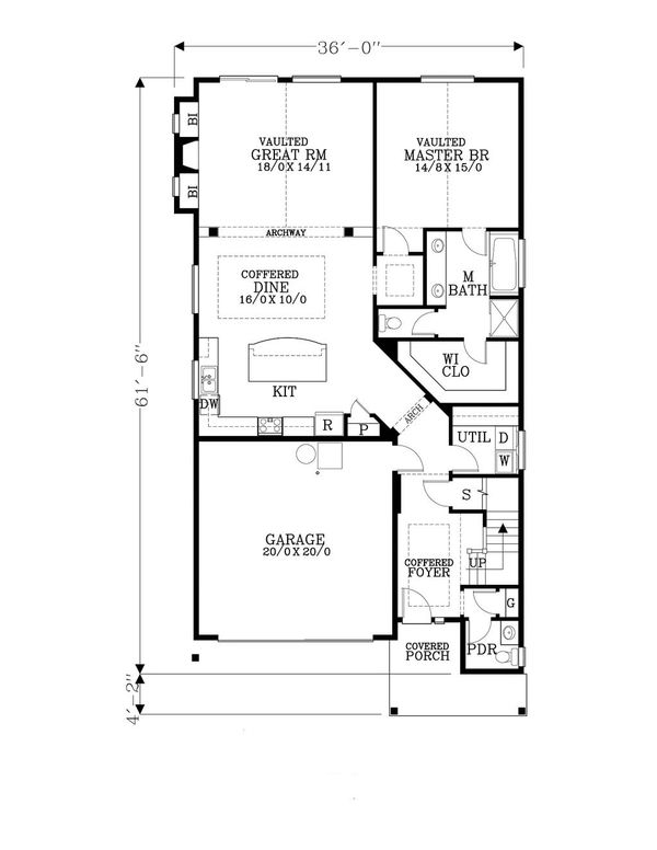 Craftsman Floor Plan - Main Floor Plan Plan #53-538