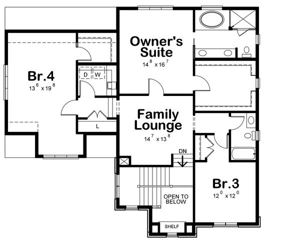 Traditional Floor Plan - Upper Floor Plan Plan #20-2282